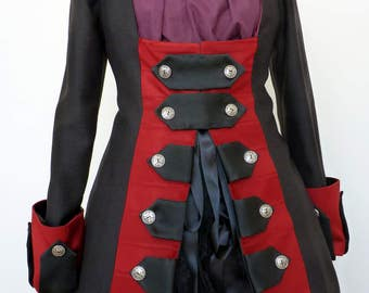 Pirate Coat, Pirate wench, Steampunk, Boho, Dandy,Diesel Punk, Neo Victorian,Womens Pirate Coat,Jack Sparrow,Unique,Captain Hook