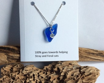 Blue seaglass pendant, cobalt blue beach glass necklace, stainless steel jewelry, Cubic Zirconia blue seaglass jewelry, Nova Scotia jewelry,