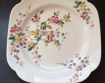 Spode Copeland Cake Plate ca 1950s.  Thelma, Pretty Floral Design on White Background.  Fine Bone China made in England.