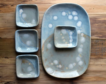 Blue Gray Rustic Modern Dinnerware, Handmade Housewarming Gift, Appetizer Plate Set, Pottery Tapas or Sushi Serving Platter and Dishes