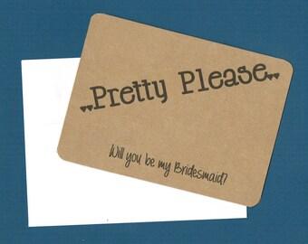 Bridesmaid Card, wedding favor, bridal shower favor, bridal favor card, will you be my bridesmaid