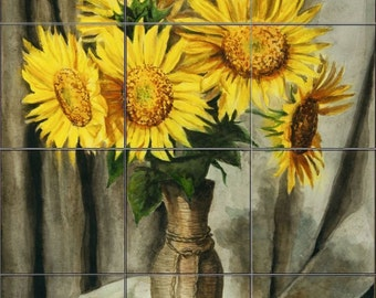 12.75 x 17 Ceramic Tile Mural Backsplash VIntage Sunflowers in a Vase535