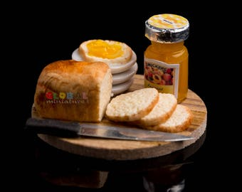 Dollhouse Miniatures Bottle of Smuckers Peach Jam on Wooden Board with Loaf and Slice of Bread Toast Food Bakery Supply 1:12