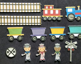 Train Felt Board Set // Flannel Board // Imagination // Children // Preschool // Railroad