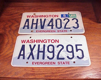 Lot of 2 Washington State License Plates, AXH9295 and AHV4023, Craft Supply, Newer