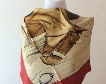 Vintage foulard, equestrian motif.