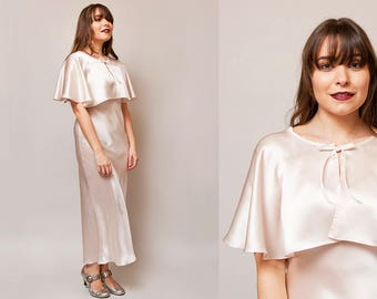 The Harriet Capelet / 1930s Style Cape / Bridal Capelet / Pure Silk Satin / Handmade Vintage Lingerie / 1930s Inspired / One Size