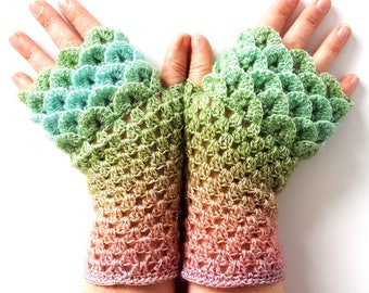 SPECIAL PRICE: OOAK Dragon gloves Fingerless gloves Womens gloves Winter gloves wrist warmers arm warmers texting gloves Driving gloves