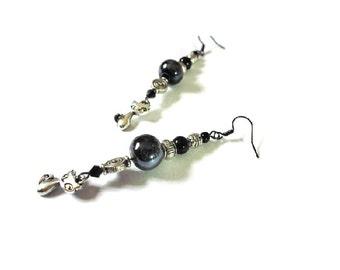 Retro earrings, silver cats