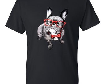 French Bulldog With Glasses Mens Short Sleeve Cotton T-Shirt
