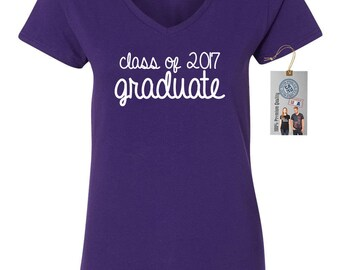 Class Of 2017 Graduate Womens Short Sleeve V Neck T - Shirt Top