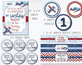 Airplane Birthday Party Package, Airplane Party Package, Printable Airplane Birthday Kit, Airplane Birthday Party Printables