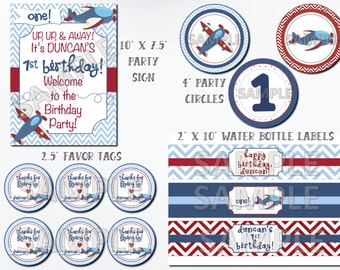 Airplane Birthday Party Package, Airplane Party Package, Printable Airplane Party, Airplane Printables, Airplane Birthday, Plane Birthday