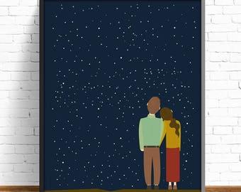 wall art decor, wall art print, night print, poster print, print illustration,stars print, living room,nursery decor, modernist art print
