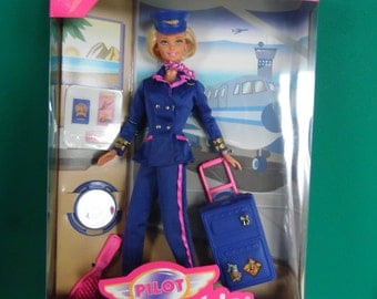Mattel Barbie Doll Pilot Airline Career Collection with Luggage