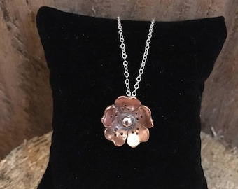 Copper and Silver Flower Necklace