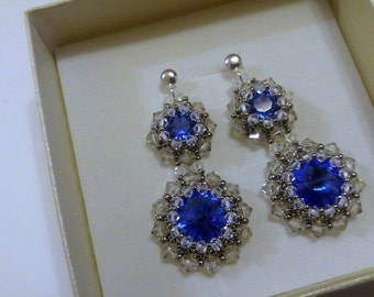 earrings sterling silver with blue swarovski