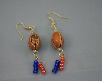 Football Dangle Earrings with Orange and Blue Beads