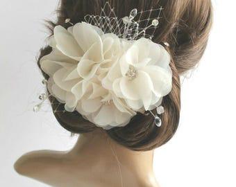 White Ivory Wedding Flower Head Piece, Bridal Hair Piece, Wedding Chiffon Flower Hair Clip, Wedding Fascinator, Bridal Hair Flowers,