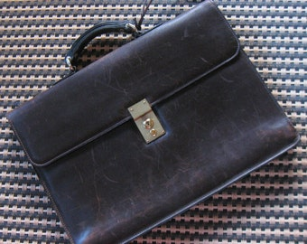 "Vintage MARK CROSS Leather BRIEFCASE / Attache Case 16.5""x11.75"" Dark Brown, Single Gusset, Main Compartment +2 Pockets, Key in Pouch, Italy"