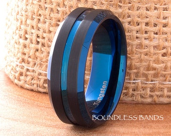 Tungsten Ring Black Blue Wedding Band Grooved Blue Tungsten Band 8mm Men's Women's Tungsten Ring Anniversary Ring Promise Ring Comfort Fit