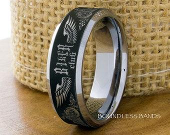 Tungsten Ring Tungsten Wedding Ring Mens Women's Wedding Band Biker Tungsten Ring Matching Ring Set Tattoo Ring Motorcycle Club Ring Unisex