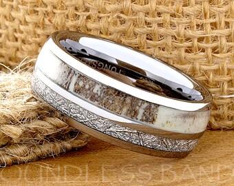 Tungsten Ring Tungsten Wedding Ring Band Meteorite Deer Antler Ring Mens Women's Wedding Band Promise Anniversary Dome 8mm Matching Ring Set