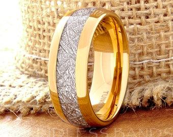 Tungsten Wedding Ring Band Meteorite Ring Mens Women's Wedding Ring Anniversary Ring Dome 8mm Yellow Gold Matching Ring Set Perfect Gift New