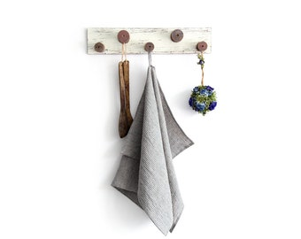 Grey Striped Linen Tea Towel - Eco Kitchen Towel