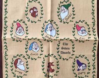 Vintage child's Handkerchief Walt Disney Company The Seven Dwarfs New