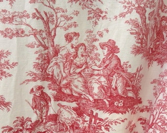 Vintage FRENCH COUNTRY TOILE Bedspread Coverlet Fabric Shabby French Provincial Prairie Cottage Chic