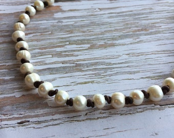 Pearl Leather Choker Necklace - White Freshwater Pearl on Knotted Leather Choker