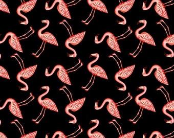 Pink Flamingos on Black, for Blank Fabrics  8495 - 99 / Pink Lady Yardage / Flamingo Fabric / Yardage, by the yard and  Fat Quarters