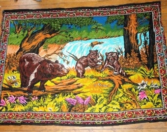 3 Brown  Bears Forest/woods Scene Tapestry/Wall HANGING 38X53 /PAPA/mama/baby