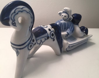 Vintage Russian Blue and White Horse Drawn Sleigh Figurine