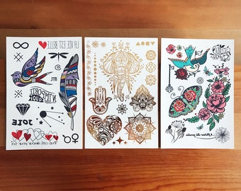 Temporary Tattoos -  The Elegant trio set // Gifts for her.