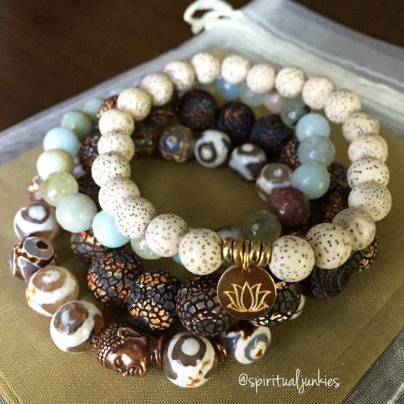 Stack of 4 Dzi Agate, Amazonite, Prehnite, Lotus Seed + Hill Tribe Gold Vermeil Lotus Spiritual Junkies Yoga and Meditation Bracelets