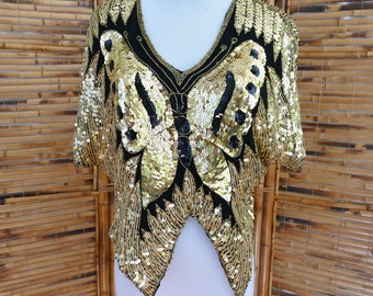 1980s Black Indian Silk Beaded & Sequined Butterfly Blouse
