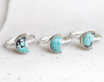 Small turquoise ring, turquoise moon ring, sterling silver ring, turquoise jewelry, southwestern ring, southwestern jewelry