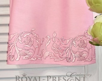 Machine Embroidery Design Pink Vintage floral border