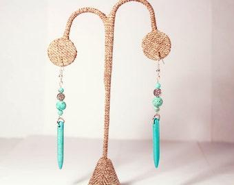 Turquoise Spike, Turquoise Earrings, Earrings, Turquoise, Spike, Dangle Earrings, Drop Earrings, Spike Earrings, Turquoise Jewelry, Boho