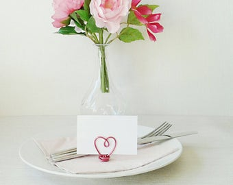Set of Wire Place Card Holders - Heart Name Holders -  Wedding Place Holders - Table Decorations - Name Card Holders - Wedding Decor