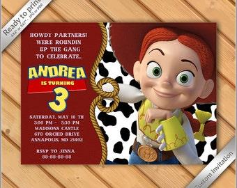 Jessie Toy Story Birthday Party Invitation - Jessie Cowgirl - Printable Digital File- print it yourself!