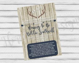 Rustic Antler Baby Shower Invitation // Baby Boy Antler Invitation // Display Shower Invitation // DIY // Printable // Download