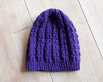 Purple Slouch Beanie Hat, Knitted Slouchy Beanie Hat