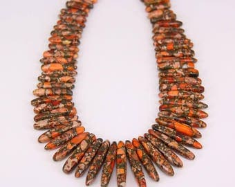 Approx 60pcs,Orange Impression Jasper Briolette Bead Pendant,Graduated Smooth Emperor Stone Drop Sticks Beads,Sediment Jasper Necklace Craft
