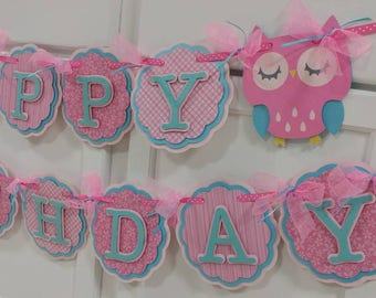 1 happy birthday owl banner and 12 pieces pink and blue Owl cupcake toppers/ sleeping owl cupcake toppers