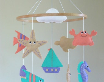 Nautical Baby Mobile, Nautical Cot Mobile, Ocean Crib Mobile, Beach themed Mobile, Sealife Mobiles, Seaside Mobile.