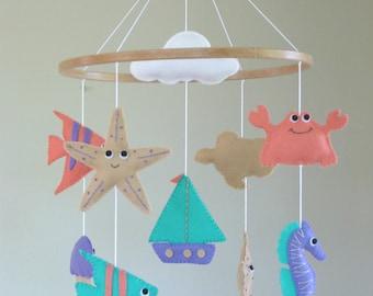 Nautical Baby Mobile, Nautical Cot Mobile, Ocean Crib Mobile, Coastal Baby Mobile, Sealife Baby Mobiles, Seaside Mobile, Beach Mobile