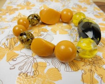 Yellow Beaded Bracelet, Handmade Bracelet, Mustard Yellow, One Off Piece, Elasticated Bracelet
